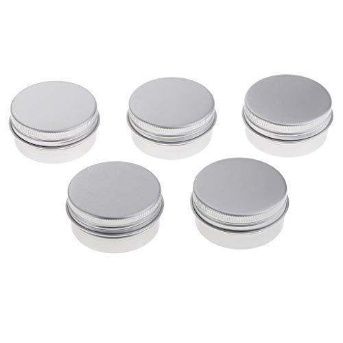 Fenteer Tarros de Lata de Aluminio de 5 Piezas, Latas de Metal de Muestra Cosmética, Recipiente Vacío, Tapa de Tapón de Rosca de Olla Redonda, 30/40/120 Ml Pa - 40ML