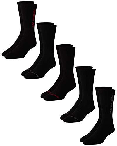 Reebok Men's Cushioned Comfort Athletic Performance High Crew Socks (5 Pack) (Black Logo, Shoe Size: 6-12.5)