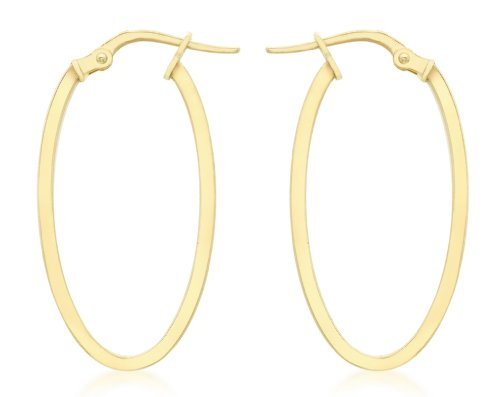 Carissima Gold Women's 9 ct Yellow Gold 14 x 30 mm Oval Creole Earrings