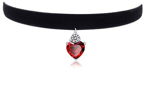 """Womens Girls Black 3/8"""" Velvet Choker Necklace with Garnet Pendant"""