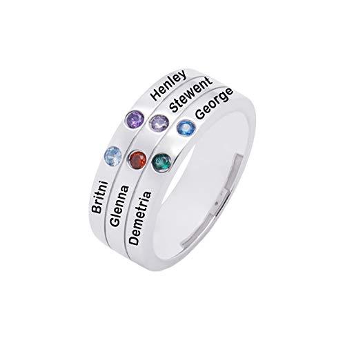 Anillo de nombre de bricolaje personalizado 6 anillos de piedra natal anillo de plata de ley 925 anillo familiar(Plata 16)