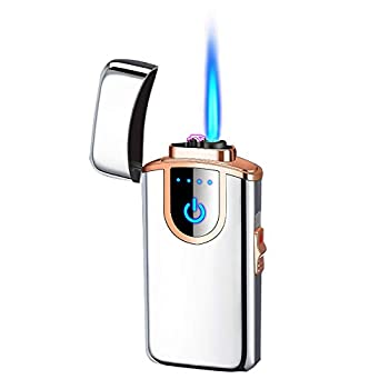 Refillable Jet Torch Lighter 2 in 1 Electric Dual-arc Lighter Plasma Windproof Lighter USB Rechargeable with Battery Indicator for Cigarette Candle,Outdoors&Indoors  Sliver