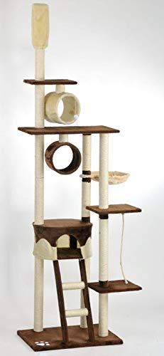 animal-design Katzen-Kratzbaum ROOFY deckenhoch XXL - mit Deckenspanner, Liegemulde, Wohnhöhle, Spielseil und Spielrollen, Farbe:braun/beige