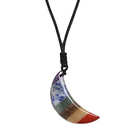 Collar con colgante de luna para hombres y mujeres, reiki, chakra, piedra pulida, péndulo para unisex