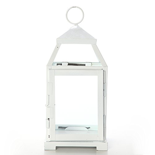 Hosley 12 Inch High Clear Glass and Iron White Color Classic Style Lantern Ideal Gift for Weddings Bridals Special Occasions Parties Aromatherapy and Spa Settings O4