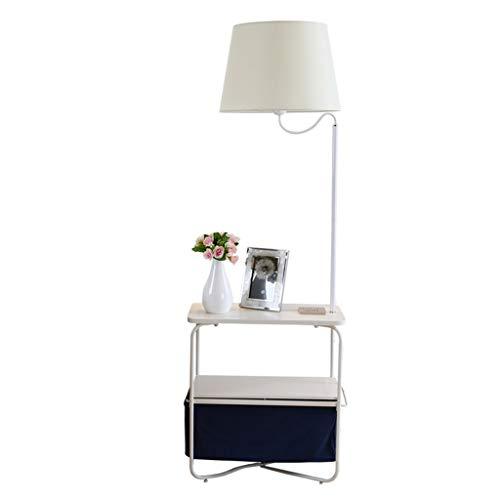 Lampes de chevet Lampadaire Stand Lampadaire en Métal Salon Canapé Chambre Sac De Rangement Table De Salon Personnalisée Lampe De Table Verticale (Color : Blanc, Size : 48 * 147cm)
