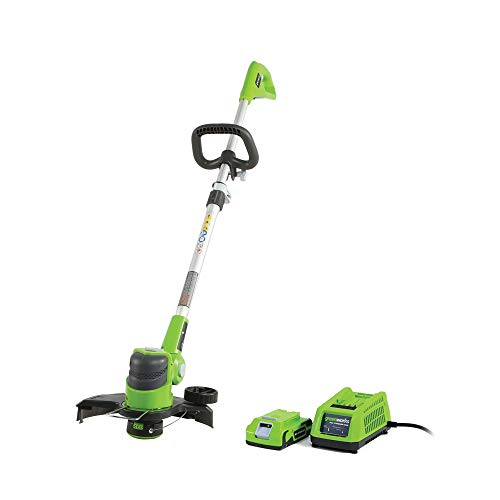 top 10 cordless string trimmers Greenworks Cordless Trimmer / Cutter, 12 inch, 24 V, 2.0 Ah battery (including 21342)