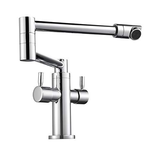 Grifo de cocina de baño con caño plegable giratorio de una sola palanca grifo para fregadero de agua fría grifo cromado para fregadero