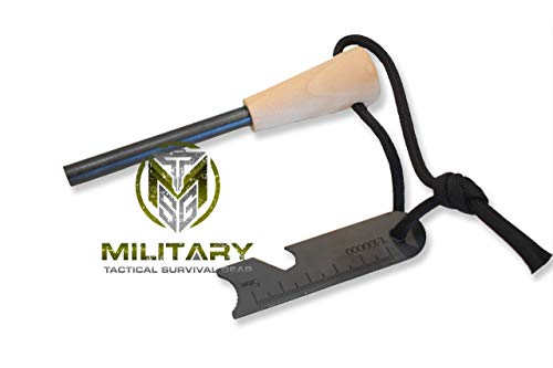 MTSG Military Tactical Survival Gear 5/16' Fire Starter Thick Bushcraft Fire Steel with Hand Crafted Wood Handle 12,000+ Strikes Traditional Ferro Rod