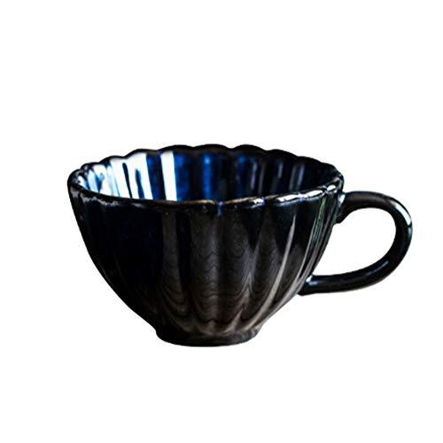 WxberG Elegante taza de café con platillo, taza de té de cerámica para el hogar y la oficina, regalo de cumpleaños de 7 onzas para los amantes del café y el té