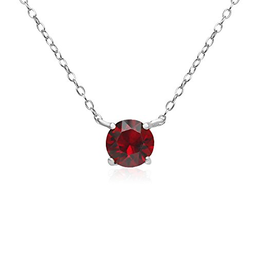 River Island Sterling Silver Choker Necklace Made with Ruby Swarovski Crystals