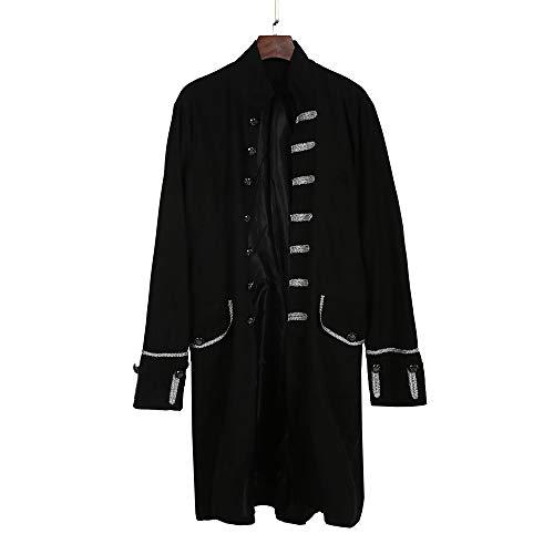 AmyGline Jacke Herren Steampunk Gothic Mantel Punk Gehrock Langarm Retro Smoking Mantel Uniform Stehkragen Praty Cosplay kostüm viktorianisch Mittelalter Kleidung Trenchcoat