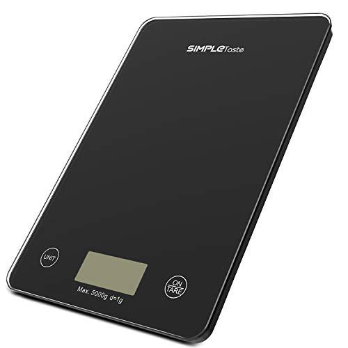 SIMPLETASTE Báscula Digital de Cocina, 5kg / 11lbs, Balanza Electrónica para Cocina y Comida con Plataforma en Vidrio Templado, Negro