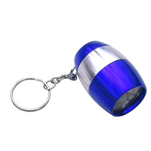 Uonlytech - Linterna LED con llavero (6 ledes, para emergencias, huracanes, camping, senderismo, color amarillo), aluminio, azul, 4,5 * 2,5 * 2,5 cm