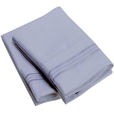 Mellanni Luxury Pillowcase Set Brushed Microfiber 1800 Bedding - Wrinkle, Fade, Stain Resistant - Hypoallergenic (Set of 2 Standard Size, Blue Hydrangea)