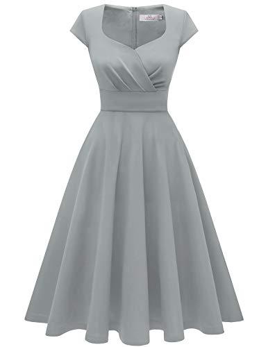 HomRain 50er Vintage Retro Cocktailkleid Rockabilly V-Ausschnitt Kleider Elegent Abendkleid Faltenrock Grey M