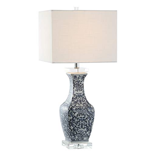 "JONATHAN Y JYL5046A May 28"" Ceramic/Crystal LED Table Lamp, Traditional for Bedroom, Living Room, Office, Blue/White"
