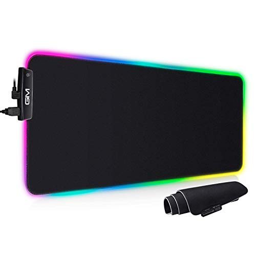 RGB Gaming Mouse Pad, GIM USBLarge Extended Led Mouse Pad with 14 Lighting Modes,Computer Keyboard Mouse Mat Waterproof with Anti-Slip Rubber Base for Gamer 31.5 x 12inch