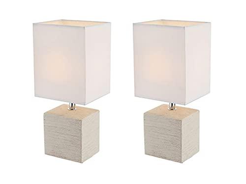 Globo Lighting - Juego de 2 lámparas de mesa elegantes (base de cerámica beige, pantalla de...