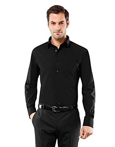 Vincenzo Boretti Herren-Hemd bügelfrei 100% Baumwolle Slim-fit tailliert Uni-Farben - Männer lang-arm Hemden für Anzug Krawatte Business Hochzeit Freizeit schwarz 37-38
