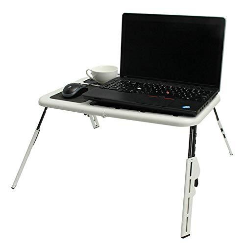 Belleashy - Mesa plegable para ordenador portátil, plegable, soporte de escritorio con 2 ventiladores de refrigeración USB para comer un picnic de cocina