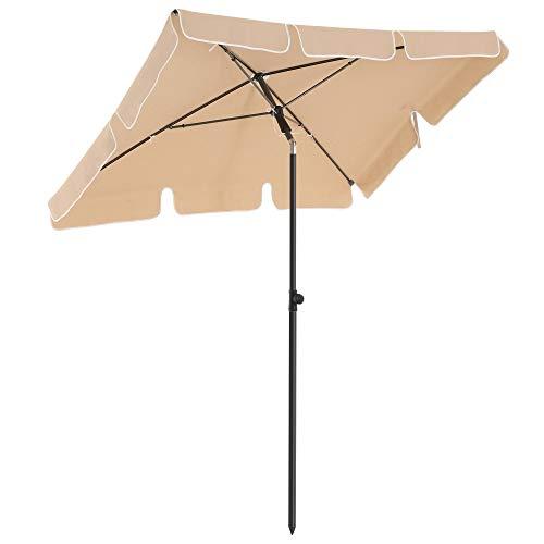 SONGMICS Sonnenschirm für Balkon, rechteckiger Gartenschirm, 180 x 125 cm, UV-Schutz bis UPF 50+, knickbar, Schirmtuch mit PA-Beschichtung, für Garten, Terrasse, ohne Ständer, Taupe GPU180K01