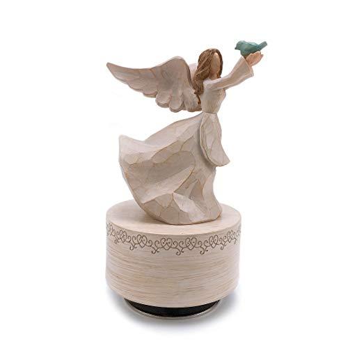 Non Rock Engel/Paar, Mutter und Tochter, Mutter und Kind, Holzschnitzerei, Spieluhr Tauben2