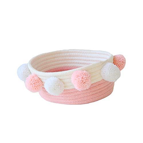 GZQ - Cesto portaoggetti in corda di cotone intrecciata, con pon pon pon per la casa, da scrivania, ideale come decorazione per calzini, reggiseni, biancheria intima, rosa, large