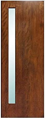 "LuxDoors Avanti [36"" x 80""] Modern Mahogany Wood and White Laminated Glass Entry Solid Door"