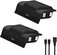 Xbox One Rechargeable Battery Pack, 2x1200mAH Xbox One Controller Battery Pack with 4FT 2 in 1 Micro USB Charging Cable and LED, Play and Charge Kit for Xbox One/One S/One X/Elite Wireless Controller