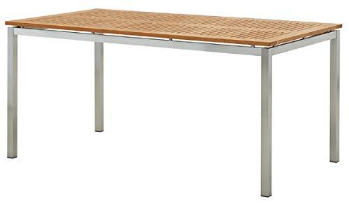 ASS Edelstahl Teak Gartentisch 160x90 cm Holztisch Esstisch Tisch Massive Ausführung A-Grade Teakholz Modell: Kuba