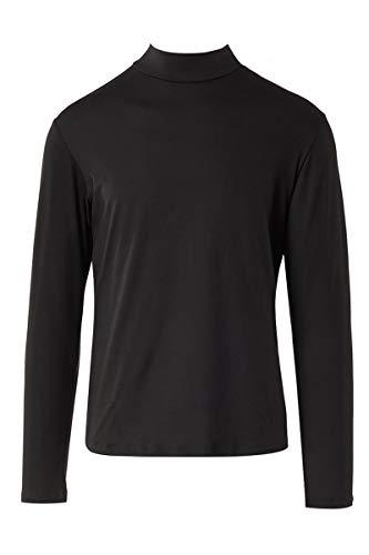 Neovic Athleisure Herren Yoga-Langarm-Unterhemd, ultra-weich, gestrickt, lässig, einfarbig, mit Stehkragen, S-2XL - Schwarz - Klein