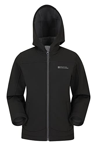 Mountain Warehouse Exodus Kids Softshell Jacket - Breathable Childrens Jacket, Water Resistant Girls Coat, Fleece Lined Boys Hoodie, Wind Resistant - for Spring Black 7-8 Years