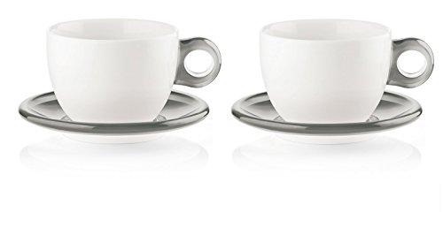 Guzzini Set DE 2 A Petit-Dejeuner avec sous-Tasses, SMMA|Porcelain