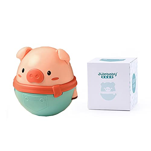 Beatrbior Cute Pig Tumbler Swing Toy, Tummy Time Toys, Pig Roly Poly Wobbler with Tinkling Sound Sensory Toy for Infant Boy Girl Gifts 6 to 12 Month (Coral Green)