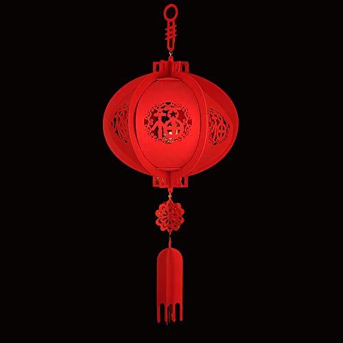 Hanbaili Lanterne Chinoise Fête Lanterne Rouge Chinoise with Suspendu Tissu Non Tissé Ornements Bonne Chance