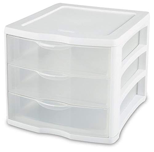 3 Unit Plastic Shelves Drawer Organizer Shelving Storage Solution Stackable With Clear Drawer Handles for Home Office Supplies School Kids Cabinets Dresser Makeup Accessory Utility -White/Clear (2)