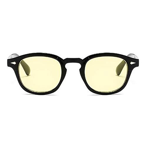 Without Marcos de Gafas Gafas Hombres Retro Vintage Receta Gafas Mujeres espectáculo óptico Marco Lente Claro (Frame Color : Black Yellow)