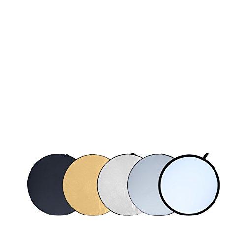 Rollei Pro 5 i 1 hopfällbar reflektor 80 cm – rund hopfällbar reflektor med olika skydd (diffusor, silver-, guld-, vit- och svart reflektor), för porträtt- och produktfotografering