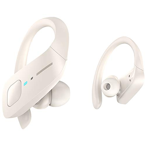 Wireless Earbuds, HolyHigh Bluetooth Earbuds 5.0 ET1 Wireless Headphones IPX7 Waterproof Sport Earbuds with Earhooks Stereo Sound Earphones in Ear for Running Workout Gym(White)
