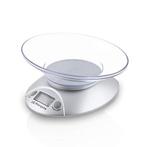 Orbegozo PC 1009 - Báscula de cocina, bol transparente, pantalla LCD, funciona con pilas, capacidad máx. 3 kilograms