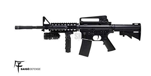 Saigo- Airsoft Rifle-M4 RIS Defense a muella (Spring) Calibre 6mm. Potencia 0,5 Julios