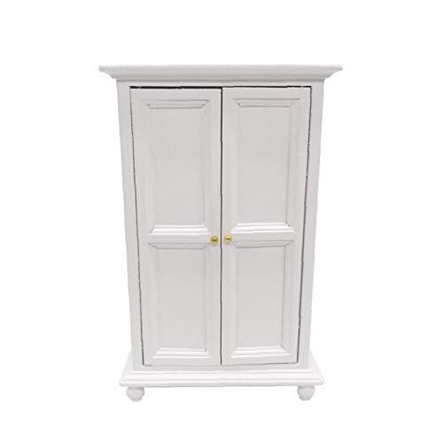 xuew Armario de Madera Miniatura Muebles del Dollhouse Dollhouse 1:12 para Sala de Estar Bed Room decoración del Dollhouse Blanca