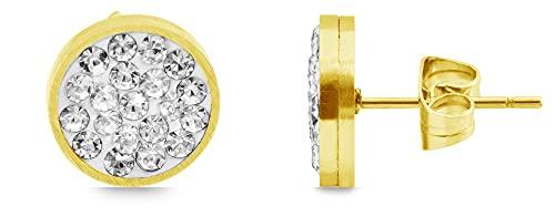 Akzent Pendientes de acero inoxidable para mujer en color dorado.