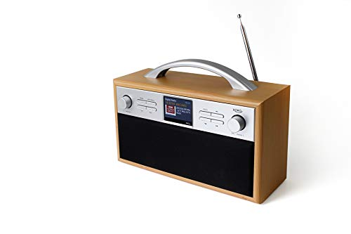 Xoro DAB 250 IR DAB+/FM tragbares Radio (Internetradio, WLAN, BT 4.2, Spotify Connect, 2.4 Zoll Farbdisplay, Weckfunktion, APP-Steuerung, Metall-Teleskopantenne, 2x2W RMS) Hellbraun