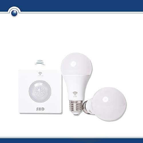 SHD LED E27 SET mit 2 Glühbirnen und kabellosem Bewegungsmelder, Erfassungsradius bis 8m, 9W, 800 Lumen, 4000K Neutralweiß, Glühlampen Set mit Bewegungsmelder