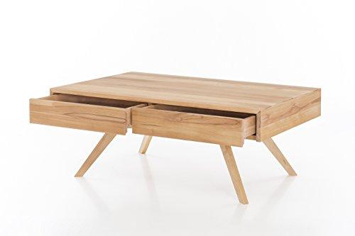 Woodlive Massivholz Couchtisch rechteckig aus Kernbuche, Wohnzimmer-Beistelltisch, massiver Holztisch inkl. 2 Schubladen, Tisch 110 x 70 cm