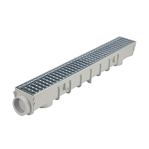 NDS 864GMTL 5-Inch Pro Channel Drain Kit with Metal Grate, 5 in, Gray