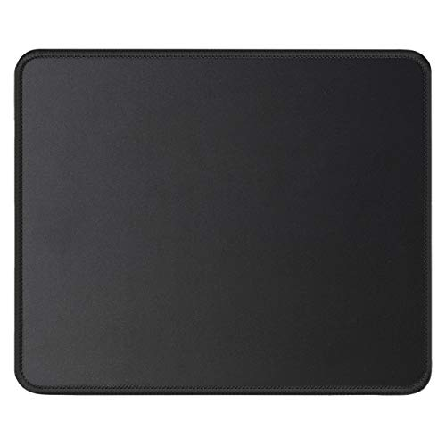 JIKIOU Mouse Pad with Stitched Edge 10.2x8.3x0.12inches Premium-Textured Non-Slip Rubber Base Mouse Mat Mousepad for Office & Home, Black (1 Pack)
