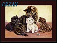ERZANアメリカン 雑貨 アンティーク インテリア プレート ブリキ メタル 看板30x40cm英語画像長髪ぶち猫子猫アートブリキ看板